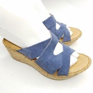 Born Open Toe Leather Wedge Sandals Sz 6